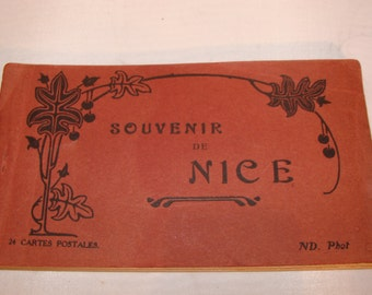 1920's French Postcard Book, Nice France Printed scenes 24 Picture Postcards