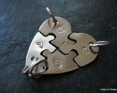 4 Best Friend Necklace - 4 Sisters Jewelry - Heart Puzzle - 4 Piece Puzzle - Sterling Silver Item SSHP4