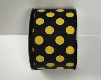 2.5 Inch Black Yellow Dot Ribbon 224085-1004, Wired Ribbon, College Wreath Ribbon