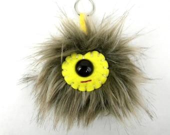 Faux Fur Bag Charm Pom Pom Keychain Monster Keychain Kawaii tween bag accessory accessories handbag charm Brown Tan Yellow Cylops