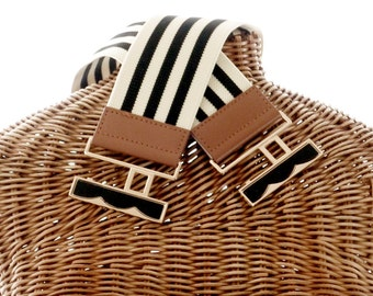 Belt Black Stripe Stretch Leather Ends Goldtone Clasp Buckle New Old Stock