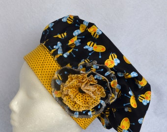 Chef's Hat, Surgical Cap, Yellow Bumble Bee , Adustable, Colorful, Washable