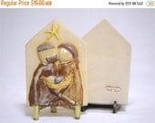 ON SALE Nativity Relief Ceramic Plaque- Small SALE 1/2 Price