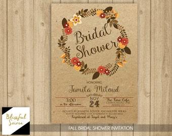 Fall Kraft Bridal Shower Invite | Autumn Florals | Falling in Love | Fall Shower Invitation | Fall Themed | Autumn Invite  | BRS40