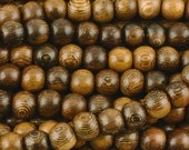 Wood-8mm Round Robles Bead-16 Inch Strand-Quantity 1