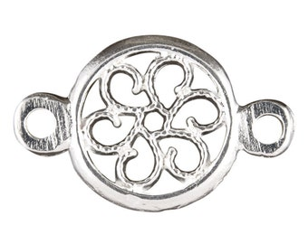 Casting-13x20mm Round Floral Connector-Silver-Quantity 2