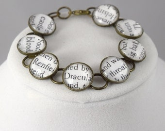 Bram Stoker's Dracula Bracelet // Book Page Jewelry