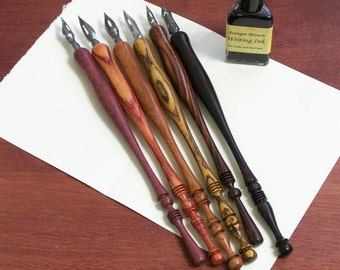 Hand Turned Wood Calligraphy Pen, Dip Pen (One Pen)