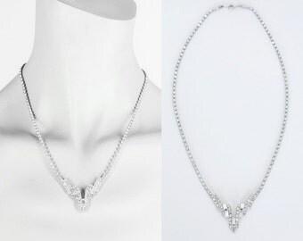 Vintage 50s Necklace / 1950s Geometric Rhinestone Necklace