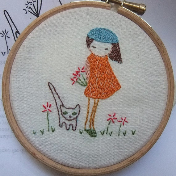 Shy girl Hand embroidery pattern pdf
