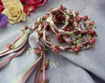 Rose garden Handfasting cord- pink and white rosebuds with tree of life charms
