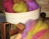 Plant dyed, natual dyed, 5 colors, combed top 30 grams  Domestic wool. Spin felt needle felt madder cochineal marigolds onionskin lichen