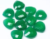 VALENTINE SALE 55% Bead, Green Onyx (natural), 14x14mm hand-cut faceted heart drop, A grade, Mohs hardness 7, Sold per 1 matching pair Sku23
