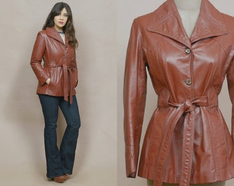 70s Leather Jacket Tan Fitted Waist Pointed Collar Brown Belted Jacket 1970s Hippie Mod Mid Length Soft Leather Light Weight / Size S Small