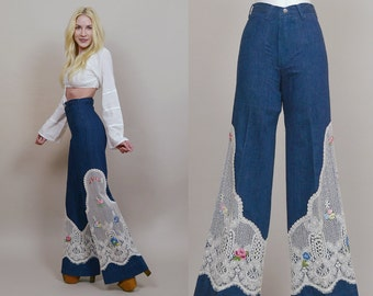 70s Bell Bottoms CROCHET Lace Embroidered Denim 1970s Hippie Jeans High Waisted Wide Leg Floral Dark Denim / Size XS Extra Small