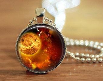 Orange Galaxy Pendant, Science Pendant, Orange Planet, Science Tech Gift, Incredible Orange Galaxy, Gifts for him, Planet Key Ring