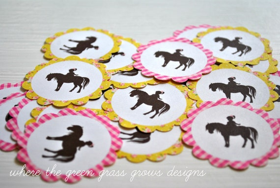 Pony Stickers pony party stickers pony birthday stickers girl birthday girl party horse stickers horse party farm party pink
