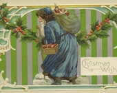 RESERVED LISTING (SABINE) Blue Coat Santa With Sack of Toys and Basket of Apples 1914 Vintage Postcard Highly Collectible Christmas Postcard