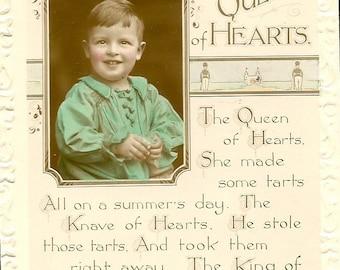 The Queen of Hearts Poem and Real Photo of Child Vintage Nursery Rhyme Postcard Unused UDB Vintage Postcard