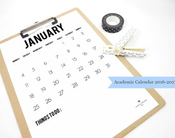 Academic Printable Calendar 2016 2017, Things To Do, Monthly Calendar, Organizer, Notepad, Back To School, To Do List, College Planner PDF