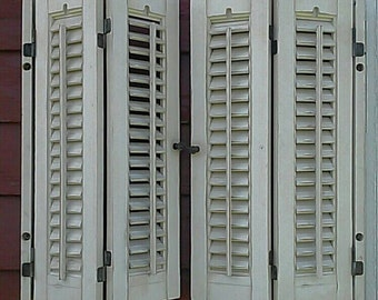 Vintage White Farmhouse Slatted Wood Shutters Home Decor