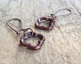 Antique Copper Quatrefoil Earrings, Ethnic Earrings, Exotic Jewelry, Moroccan Earrings, Gift For Mom, Bohemian Earrings, Bohemian Jewelry
