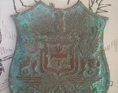 Unusual Vintage Owl and Gryphon Badge / Medallion w Homemade Verdigris Patina - Mysterious Wicca Sorority