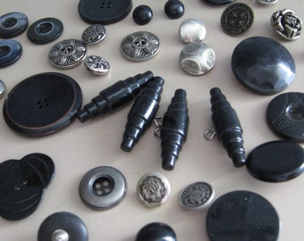 Buttons Toggles Vintage Black and Silver Variety of materials and styles