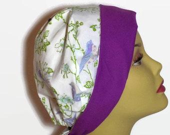 Women's surgical scrub hat purple birds, tie back surgical cap or chemo hat, scrub hats, nurse gift, chemo head wear, surgery cap, OR nurse