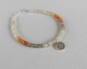 Gemstone bracelet peach white grey moonstone with silver sterling charm OM /  7.25  inches long / silver 925