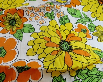 """Vintage Floral Fabric Panel 44"""" x 22"""" Bright and Bold Flowers Oranges Yellows Green Woven Cotton Fabric"""