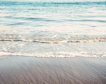 "Seashore Art, Ocean Art, Coastal Blue White Decor, Beach Photography, Pacific Ocean, Aqua Blue White, Shoreline Art ""Seashores"""