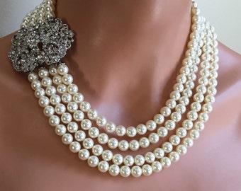 Complete Wedding Necklace Set - Bracelet Necklace Earrings - Swarovski Pearls 4 multi strands Rhinestone bridal wedding jewelry