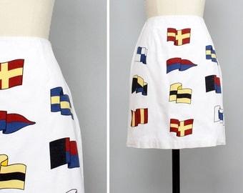 Nautical Skirt XS/S • High Waisted Pencil Skirt • White Cotton Skirt • Talbots Yacht Skirt • High Waisted Skirt • Summer Skirt   SK463