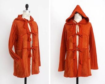 Rust Suede Hooded Jacket M • 70s Bohemian Jacket • Suede and Crochet Jacket • Hippie Coat • Patchwork Leather Jacket    O223