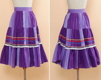 Purple Tiered Skirt XXS • 50s Circle Skirt • Square Dance Skirt with Ric Rac • Cotton Midi Skirt • Ombre Prairie Skirt • Full Skirt  | SK515