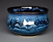Blue Pottery Bowl Tea Bowl Stoneware Blue Black Ceramic Bowl B