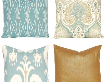 Sofa Pillow Covers - Decorative Pillow Covers - Seafoam Pillow - Four Designer Prints - Aqua Pillow Covers - Metallic Pillow Cover - Latika