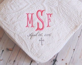 Baptism Gift - Monogram Quilt - New Baby Gift - Personalized Baby Quilt -  Three Letter Monogram with Baptism Date - Christening Gift