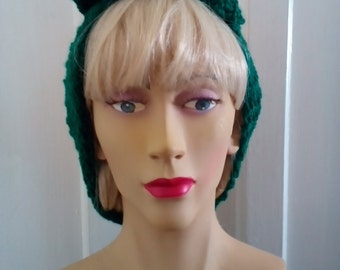 1940s Style Hand Knitted Hair Tidy in Landgirl Green