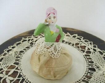 Vintage Pincushion Half Doll - Japan Half Doll - Sewing Studio Decor - Sewing Collectible