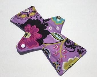 10 Inch Cloth Menstrual Pad Regular Flow Purple Floral