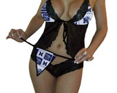 NCAA Memphis Tigers Sexy Black Cami Top and Lace Booty Shorts Set Plus FREE Matching G-String Thong Panty