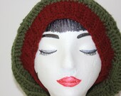 "Knitted  ""Thyme and Maroon Band"",  Slouchy Head Accessory, Boho-chic ***FREE SHIPPING (USA address only)"