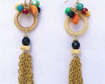 Beaded Ring and Chain Tassel Earrings