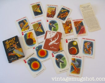 "Space Race Playing cards Vintage  2 1/4"" x  3 3/8"" 37 Cards 1952 Scrapbooking"