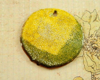 Yellow and Dark Green Large Torch Enameled Pendant