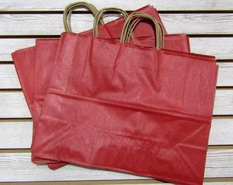 "16"" X 6"" X 12"" Red Kraft Bag Shopping Tote - 10 Pcs"