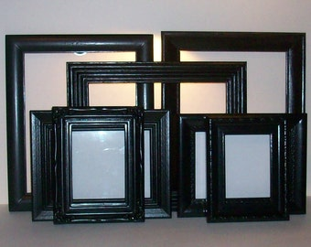Set of 7 Black Picture Frames for Gallery Wall, Wedding Decor, Nursery Decor