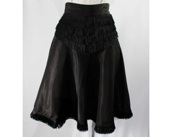 Size 2 Black Skirt - 1940s Cigarette Girl Style Flared Taffeta with Fringe - Small 40s Pin Up Skirt - Post WWII - Waist 24 - XS - 47195